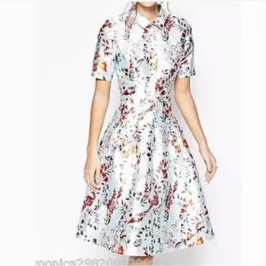 1950s inspired HaoDuoYi Floral Dress Color: Blue